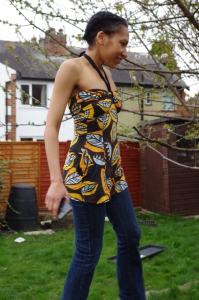 Refashioned halter neck top